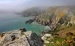 Coastal scene on the Channel Island of Guernsey looking out over the English Channel