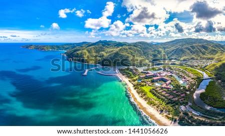Coastal Scenery of Luxury Resort with Villas, Yacht Marina and Recreational Beach at Yalong Bay, Sanya, Hainan Island, China. Aerial View.  Сток-фото ©