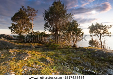 Coastal Scenics of magical rocky beaches and sunsets within a temperate rain forest on Bowen Island BC Canada close to Vancouver.