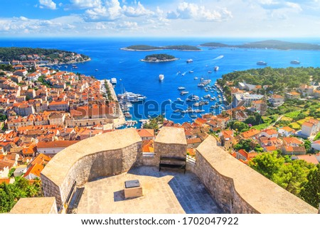 Coastal summer landscape - top view of the City Harbour and marina of the town of Hvar from the fortress, on the island of Hvar, the Adriatic coast of Croatia Сток-фото ©