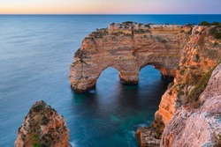 Coastal view from Praia da Marinha beach of Algarve region in Atlantic ocean of Portugal, Europe
