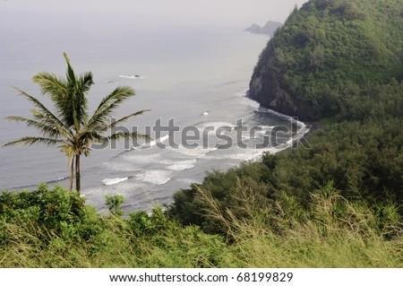 Coastal view near Pololu Valley lookout on northwest side of Big Island of Hawaii