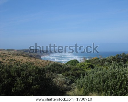 Coastal view near the Twelve apostles. Famous australian landmark (Great Ocean Road, Victoria, Australia)