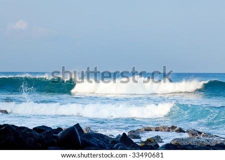 Coastal view on the Big Island of Hawaii with lava rocks