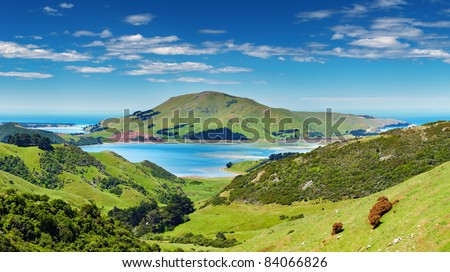Coastal view, Pacific coast of New Zealand, Otago Peninsula - stock photo