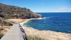 Coastal views of cliffs on the Bouddi Coastal Walk, New South Wales Australia