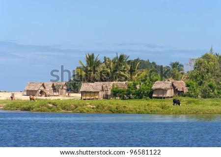 Coastal village of Antongil Bay, east of Madagascar