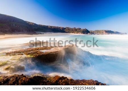 Coastline along Bingie and Meringo Beach in Eurobodalla National Park Foto d'archivio ©