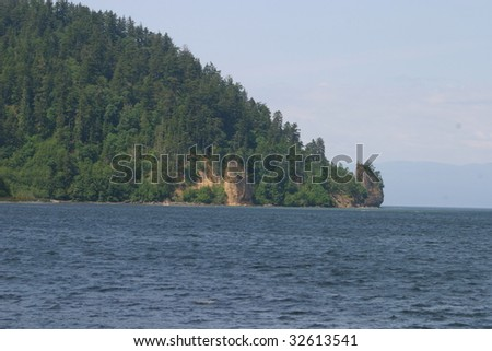 Coastline along the Strait of Juan de Fuca in Washington state, USA.
