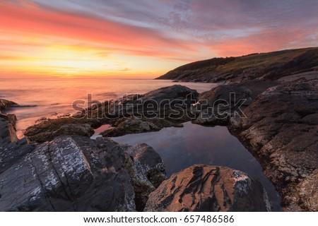 Coastline at sunrise, Newfoundland and Labrador, Canada.