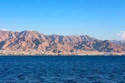 Coastline landscape of Red Sea in Gulf of Aqaba
