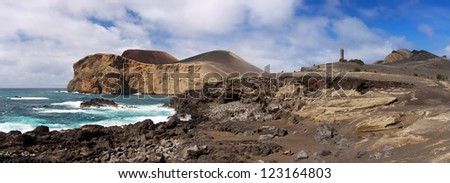 Coastline near the lighthouse of Capelinhos, Faial Azores