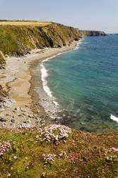 Coastline near the village of Annestown in County Waterford,Ireland