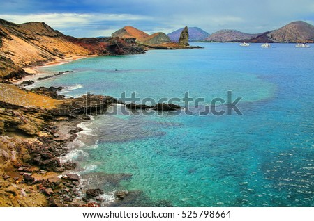Coastline of Bartolome island in Galapagos National Park, Ecuador. This island offers some of the most beautiful landscapes in the archipelago.