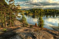 Coastline of Biya river in Turochak village (Russia, Altay Republic)