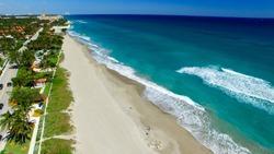 Coastline of Palm Beach, aerial view of Florida.