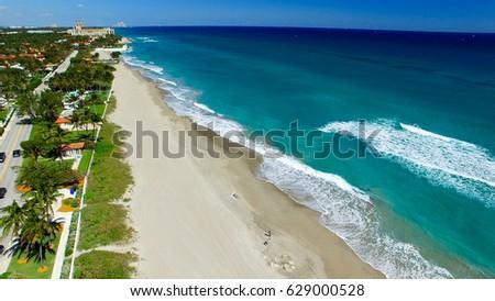 Coastline of Palm Beach, aerial view of Florida. #629000528