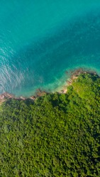 Coastline of Thailand country, Ko Phangan, aerial drone point of view