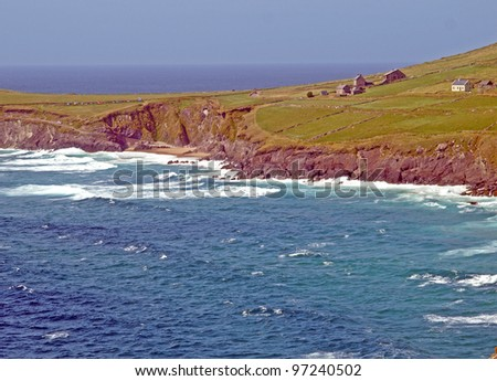 Coastline of the Dingle Peninsula, County Kerry in Western Ireland, as seen from Slea Head Drive