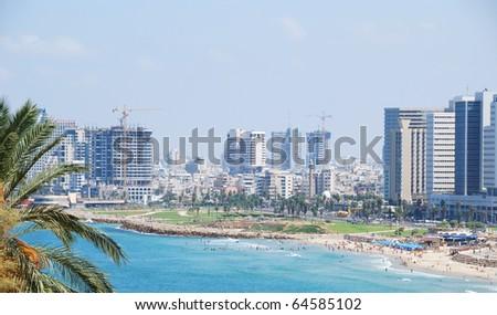 Coastline of the Mediterranean Sea, Tel Aviv, Israel.