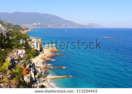 Coastline of Yalta in summer. Crimea, Ukraine