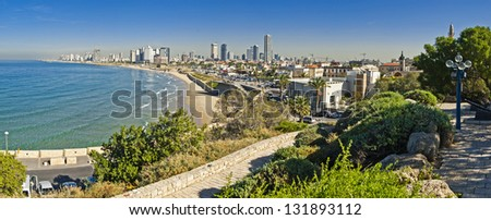 Coastline view of Tel-Aviv, viewed from Jaffa-medieval part of the city. Jaffa was port in ancient times.
