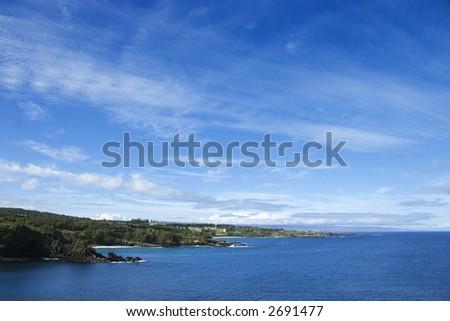 Coastline with blue sky of Honolua, Maui, Hawaii.
