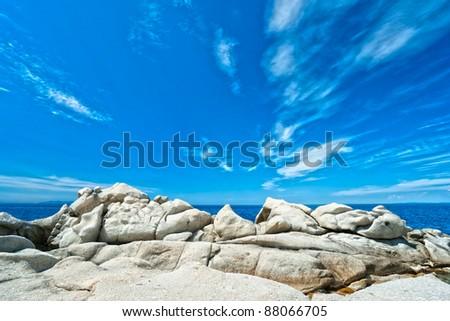 Coastline with dramatic sky, Elba island. Italy.