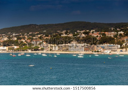Coastline with hotel facilities at the Bale de Bandol, Bay of Bandol, Alpes-Maritimes, Cote d'Azur, Southern France, France, Europe #1517500856