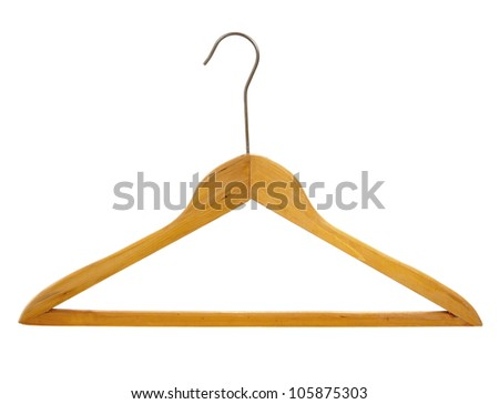 Coat hanger made of wood isolated on white background