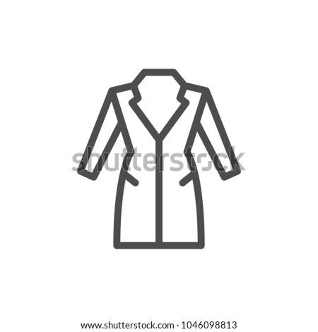 Coat line icon isolated on white