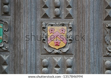 Coat of arms of All Souls College Oxford one of the constituent colleges of the university the badge or crest is embossed on the Great Gate to the Bodleian library in Catte Street