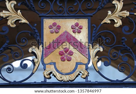 Coat of arms of All Souls College Oxford one of the constituent colleges of the university the badge or crest forms part of the detail on the ornate side entrance gate to the college