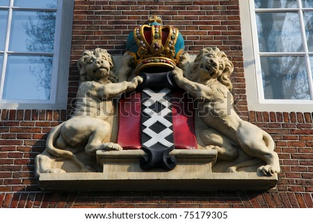 Coat of Arms of Amsterdam on an old house in the center.