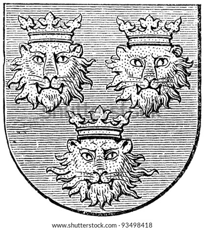 "Coat of arms of Dalmatia, (Austro-Hungarian Monarchy). Publication of the book ""Meyers Konversations-Lexikon"", Volume 7, Leipzig, Germany, 1910"