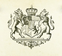 Coat of arms of kingdom of Bavaria. Illustration by Alwin Zschiesche, published on
