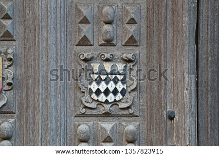 Coat of arms of Magdalen College Oxford one of the constituent colleges of the university the badge or crest is embossed on the Great Gate to the Bodleian library in Catte Street