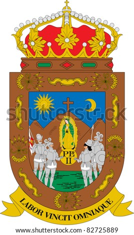 Coat of arms of Mexican state of Zacatecas; isolated on white background.