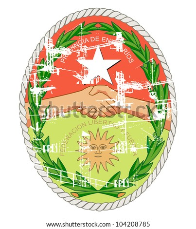 Coat of arms of province of Entre Rios in Argentina; isolated on white background with grunge effect.