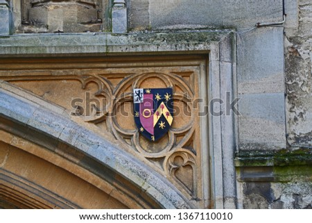 Coat of arms of St John's College Oxford one of the constituent colleges of the university and the wealthiest college the badge or crest is sculpted in stone above the college entrance in St Giles'