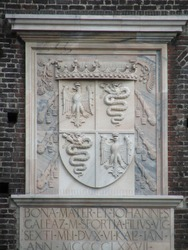 Coat of arms of the Visconti family in the Sforza Castle. Milan, Italy