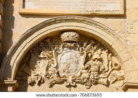 Coat of arms on the front of St Pauls Cathedral also known as Mdina Cathedral, Mdina, Malta, Europe. Foto d'archivio ©
