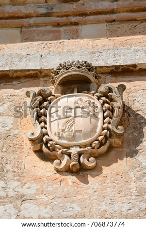 Coat of arms on the Town Gate, Mdina, Malta, Europe. Foto d'archivio ©