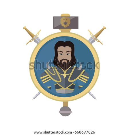 Stock Photo Coat of arms shield with swords and hummer . Flat style. Cold weapon and armor with king portrait. Illustration for games industry concepts, icons and pictograms. Isolated on white background.
