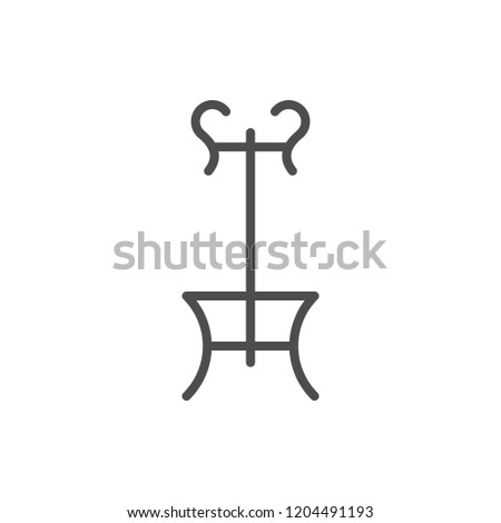Coat-rack line icon isolated on white