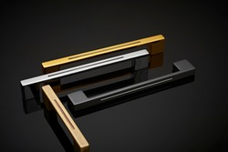 coated door and drawer handle black ground