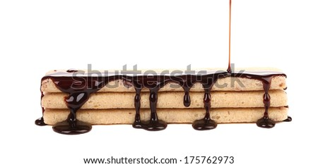 Coated stake wafers of chocolate. Isolated on a white background.