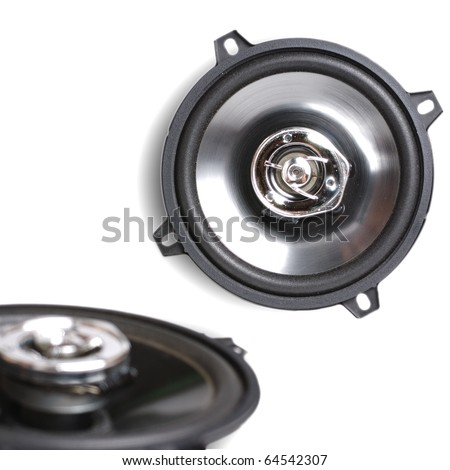 Coaxial car speakers isolated on white
