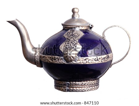 cobalt blue moroccan teapot; isolated on white
