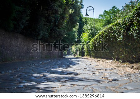 Cobble stone road outside of Rome